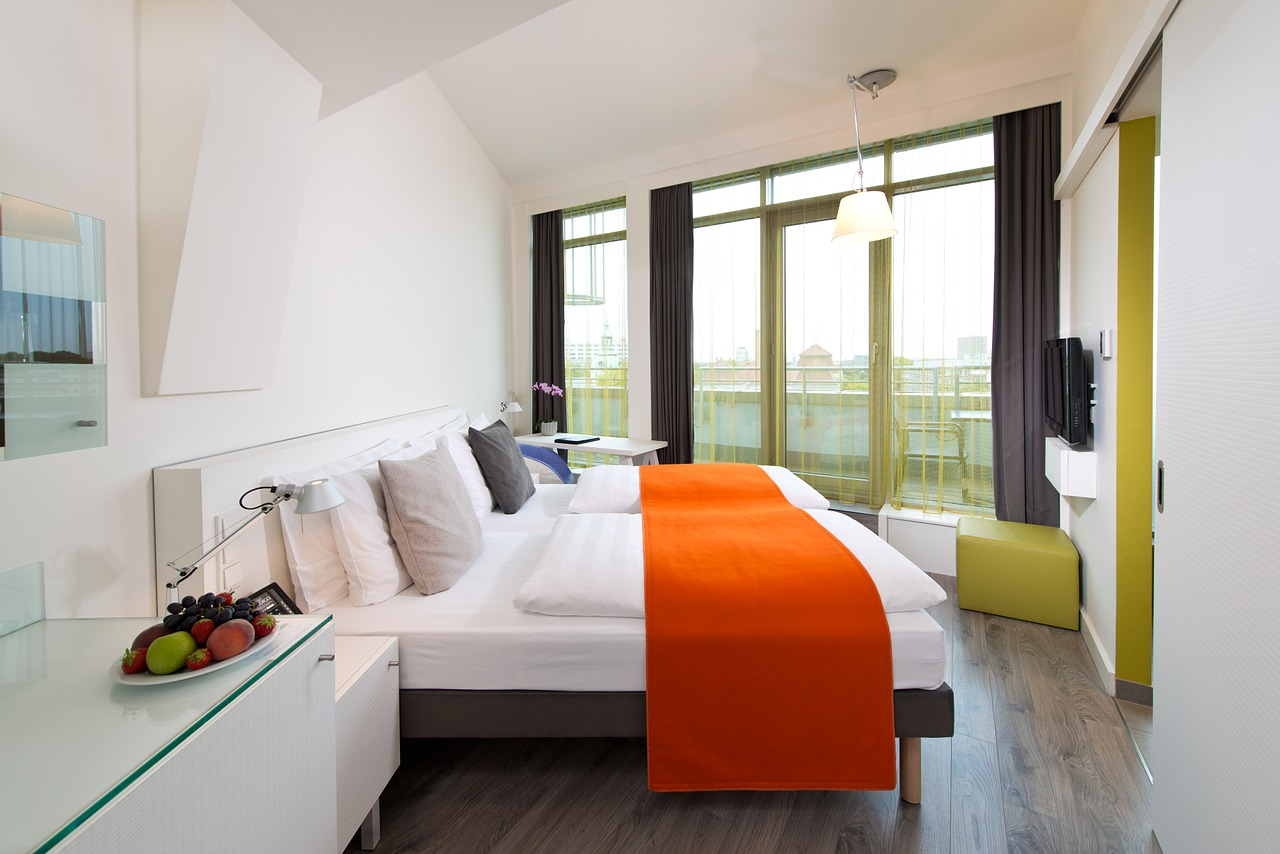 Hotel room with large bed
